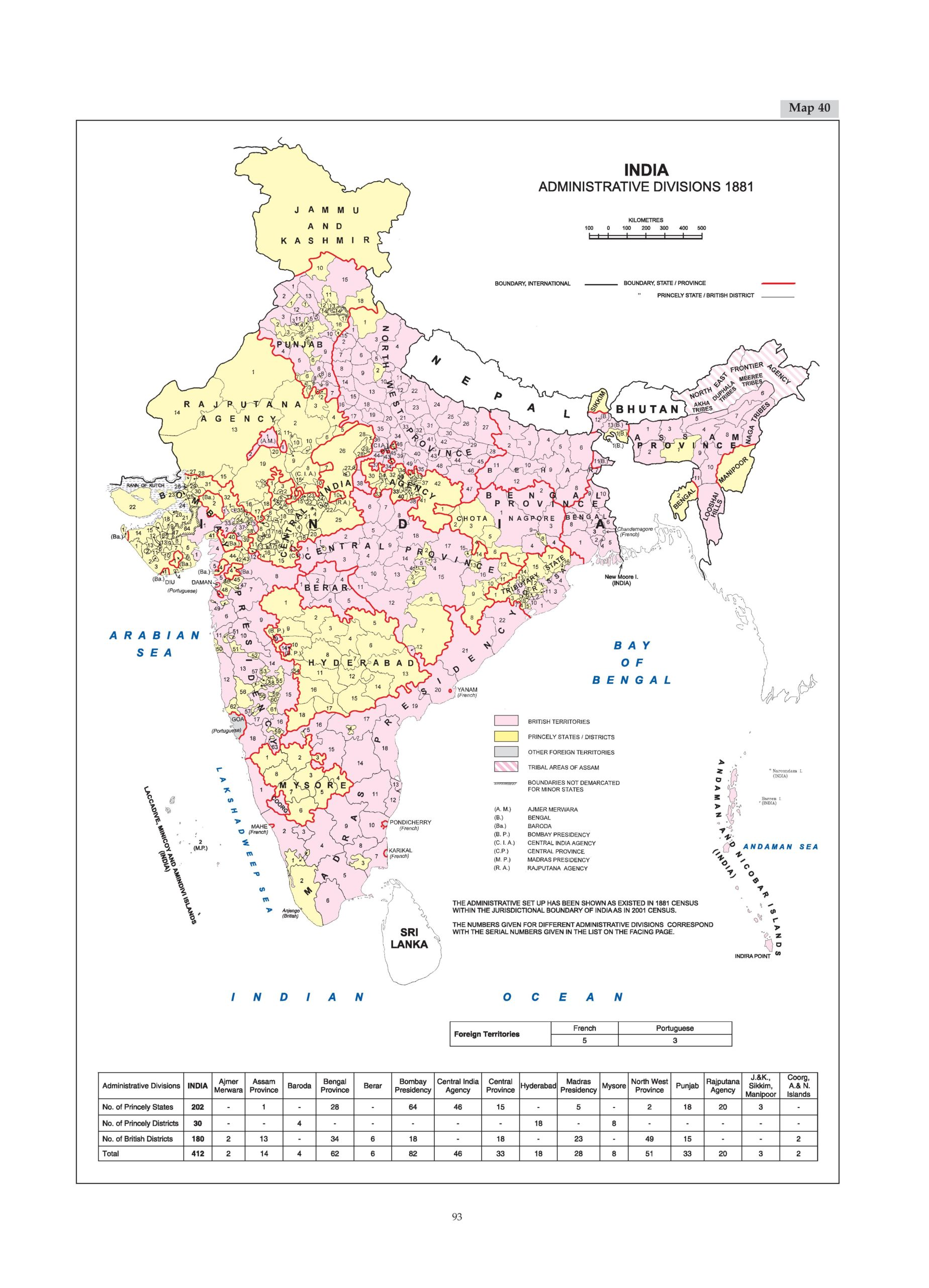 A pink and yellow map of the administrative districts of India in 1881. Administrative Atlas of India. Office of the Registrar General & Census Commissioner, India Ministry of Home Affairs, Government of India. 2011.
